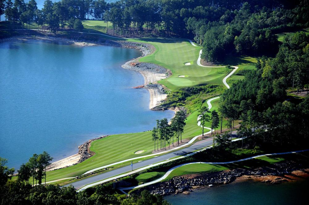 Arial view of golf course at the lake
